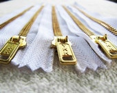 7inch - White Metal Zipper - Gold Teeth - 5pcs