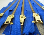 7inch - Victoria Blue Metal Zipper - Gold Teeth - 5pcs