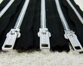 10inch - Black Metal Zipper - Silver Teeth - 5pcs
