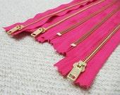 16inch - Fuchsia Pink Metal Zipper - Gold Teeth - 5pcs