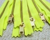 4inch - Neon Yellow Metal Zipper - Gold Teeth - 6pcs