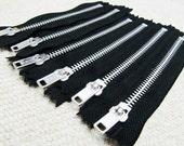 5inch - Black Metal Zipper - Silver Teeth - 6pcs