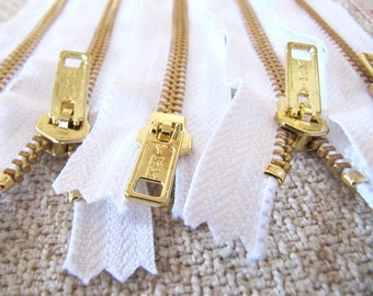 10inch - White Metal Zipper - Gold Teeth - 5pcs