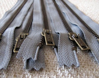 7inch - SmokeGrey Metal Zipper - Brass Teeth - 5pcs