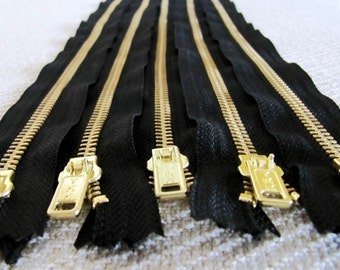 18inch - Black Metal Zipper - Gold Teeth - 5pcs