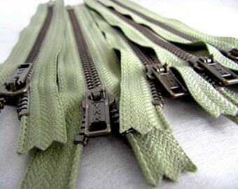 7inch - AsparagusGreen Metal Zipper - Brass Teeth - 5pcs