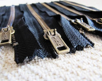 5inch - Black Metal Zipper - Brass Teeth - 6pcs