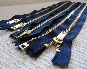 12inch - Navy Blue Metal Zipper - Gold Teeth - 5pcs