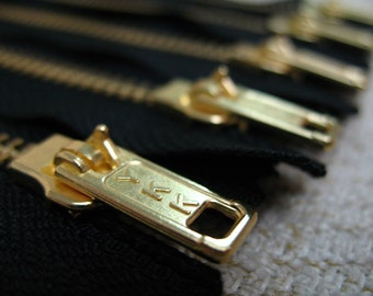 9inch - Black Metal Zipper - Gold Teeth - 5pcs