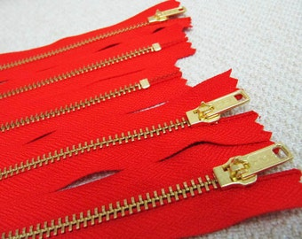 8inch - Hot Red Metal Zipper - Gold Teeth - 5pcs