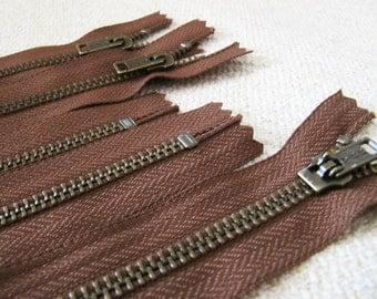 12inch - Milk Chocolate Brown Metal Zipper - Brass Teeth - 5pcs