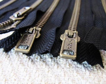 4inch - Black Metal Zipper - Brass Teeth - 6pcs