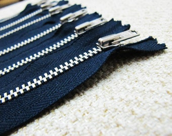 3inch - Navy Metal Zipper - Silver Teeth - 6pcs