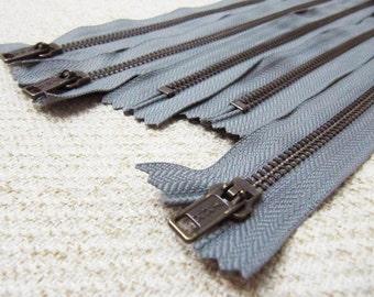 10inch - SmokeGrey Metal Zipper - Brass Teeth - 5pcs