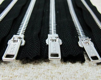 10inch - Black Metal Zipper - Silver Teeth - 5pcs
