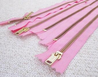 14inch - CandyFloss Pink Metal Zipper - Gold Teeth - 5pcs