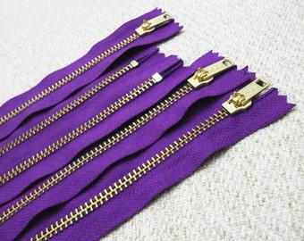 10inch - Purple Metal Zipper - Gold Teeth - 5pcs