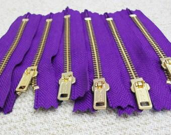 4inch - Purple Metal Zipper - Gold Teeth - 6pcs