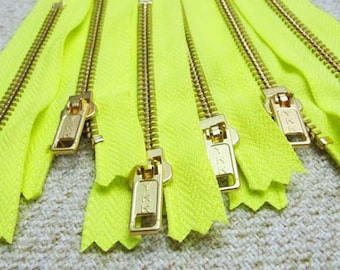 4inch - Neon Yellow Metal Zipper - Gold Teeth - 6pcs