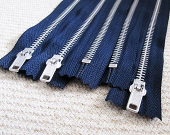 10inch - Navy Metal Zipper - Silver Teeth - 5pcs