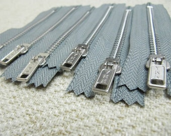 4inch - SmokeGrey Metal Zipper - Silver Teeth - 6pcs