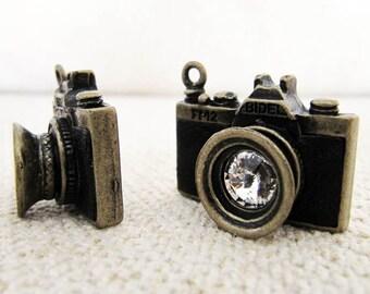 1pcs Antique Bronze Vintage Black Camera Charm/Pendant