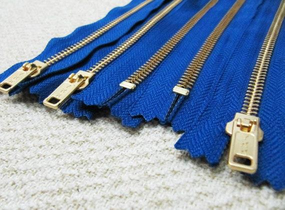 16inch - Midnight Blue Metal Zipper - Gold Teeth