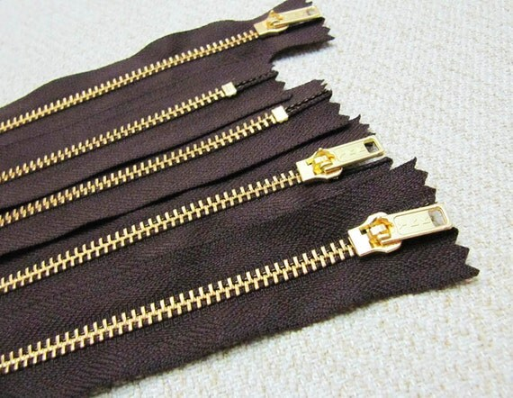 10inch - Dark Chocolate Brown Metal Zipper - Gold Teeth - 5pcs
