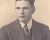 Handsome Young Man  - Vintage Photograph, Vernacular, Found Photo, Ephemera