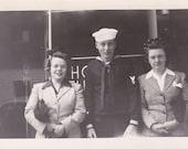 Sailor and Two Ladies - Vintage Photograph, Vernacular, Ephemera