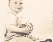 Vintage Photo - Baby Holding a Ball - Vintage Photograph, Vernacular, Found Photo