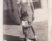 Vintage Photograph - Lady and Little Boy, Vernacular, Black and White   (G)