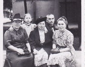 Family Sitting on a Bench - Vintage Photograph, Vernacular, Found Photo, Ephemera  (G)