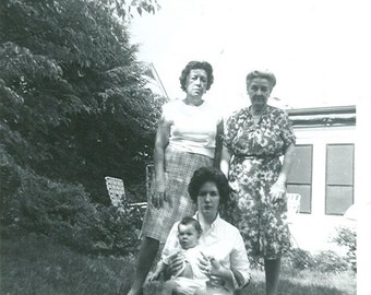 Vernacular, Found Photo, Ephemera, Dour Ladies with Baby - Vintage Photograph