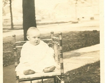 Sweet Baby in Chair - Vintage Photograph, Vernacular, Ephemera, Found Photo