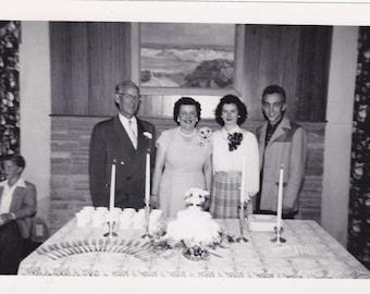 Vintage Photo - Anniversary Couple and Children - Vintage Photograph, Vernacular, Found Photo