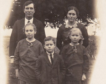 Family of Five - Vintage Photograph - RPPC - Vernacular - Black and White