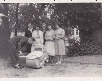 Vintage Photo - Ladies and a Man with a Baby Carriage - Vintage Photograph, Vernacular, Found PHoto  (G)