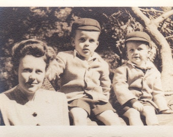 Mother and Two Boys -  Vintage Photograph, Vernacular, Ephemera