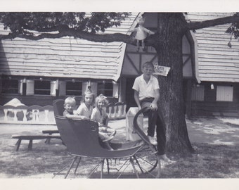 Four Kids and a Sleigh - Vintage Photograph, Vernacular, Found Photo (B)
