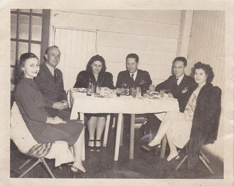 Vintage Photo - Couples Having Dinner - Vintage Photograph, Vernacular, Found Photo  (AA)