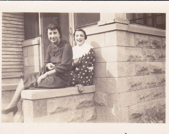 Ladies on the Porch - Vintage Photograph, Vernacular  (AA)