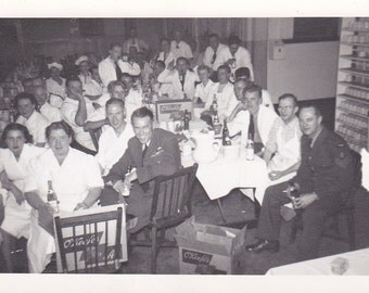 The Crowded Dinner Table -  Vintage Photograph, Vernacular, Found Photo, Ephemera  (HH)