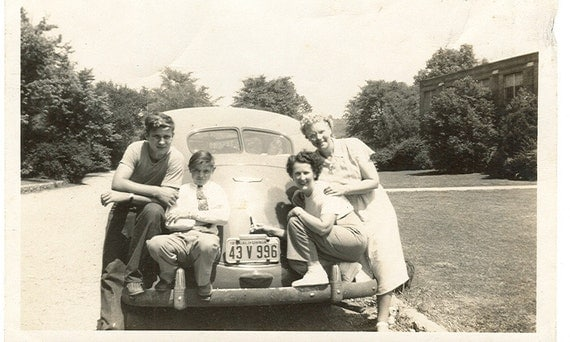 Family By Their Car Vintage Photograph