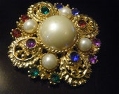 Fun and Beautiful Rhinestone and Pearl Brooch