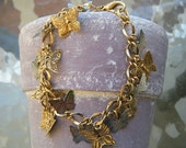 Butterfly Charm Bracelet Made with Vintage Pieces