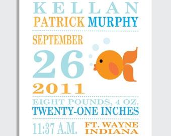 Baby Announcement Print -- GOLDFISH --  8 x 10