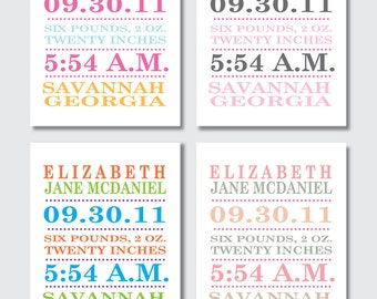Birth Announcement Print -- Modern Typography -- Baby Girl -- 8 x 10