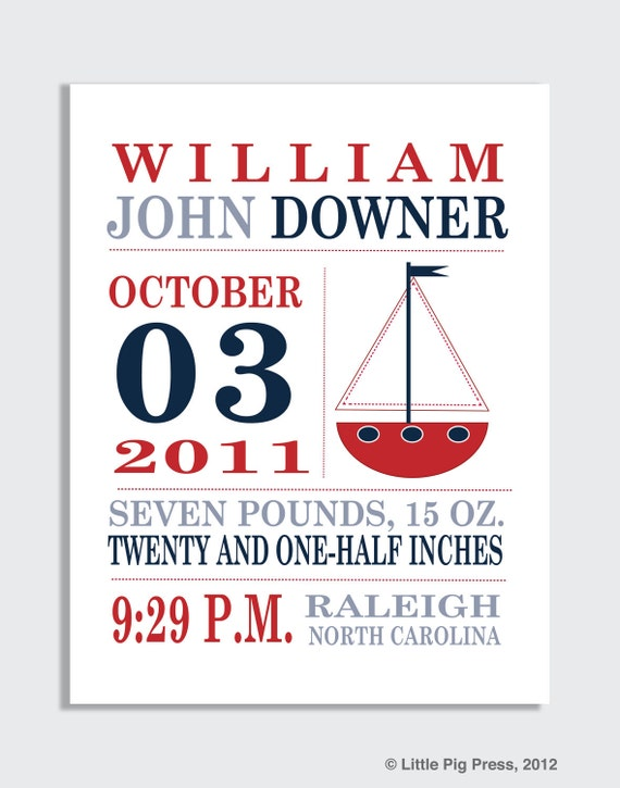 Personalized BIRTH ANNOUNCEMENT PRINT -Red, White, Blue Sailboat, gift for babies, nautical nursery decor, boys nursery art, for kids room