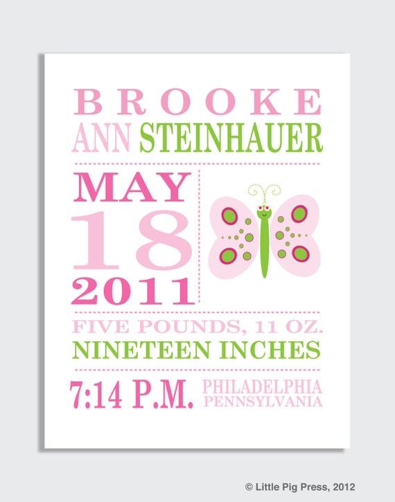 Custom Birth Announcement Print -- Butterfly, girl nursery decor, wall art for girls, art for girl's room, personalized baby gift, modern